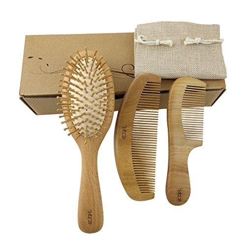 Natural Wood Hair Brush with Wooden Bristles Massage Scalp